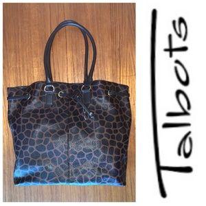 Talbots black/brown leopard spots drawstring bag.